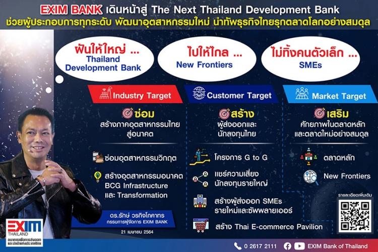 """EXIM BANK พลิกโฉมสู่บทบาท """"ธนาคารเพื่อการพัฒนาแห่งประเทศไทย"""""""